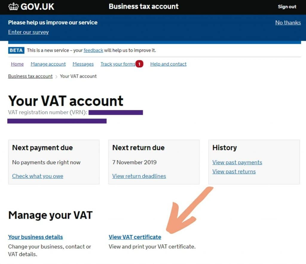 Download your VAT Certificate