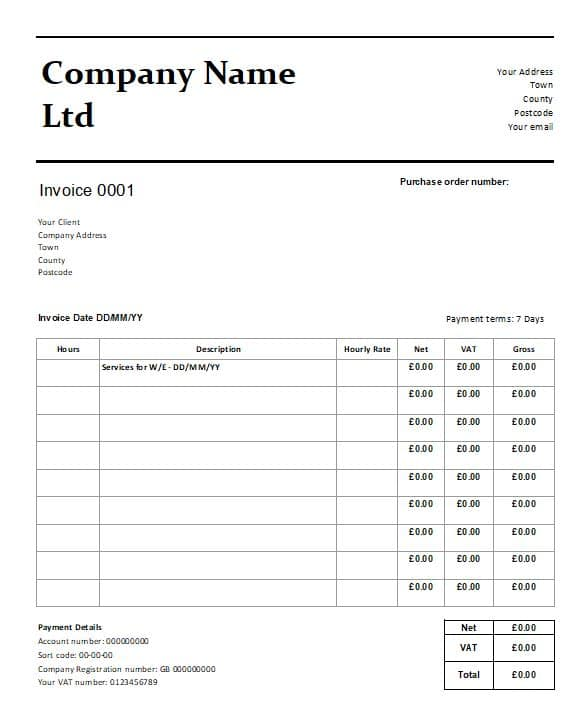 Free Downloadable Invoice Template For Uk Business In Excel